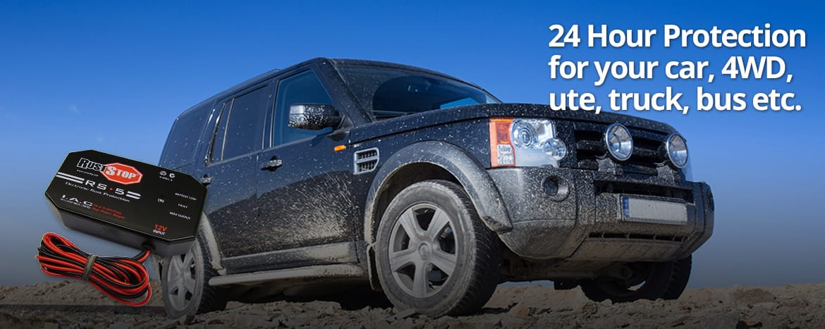 Black 4wd on mud with Electronic Rust Protection Kit
