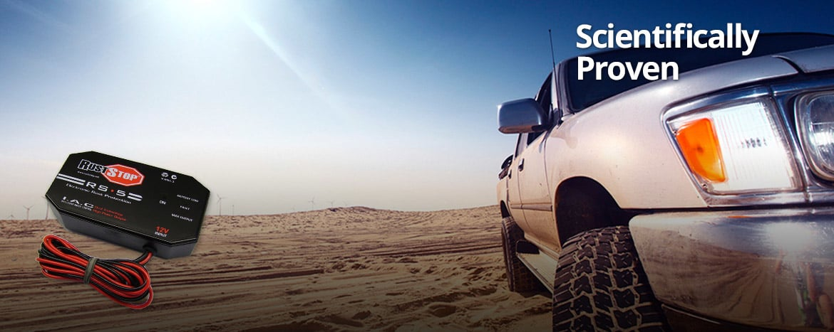 Vehicle in Desert with RustStop Electronic Rust Protection
